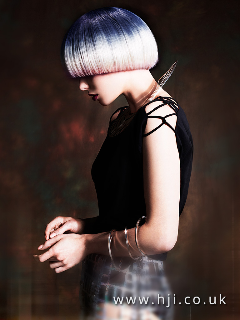 2016 Platinum blonde blunt bowl cut with blue root drag and pink infused ends