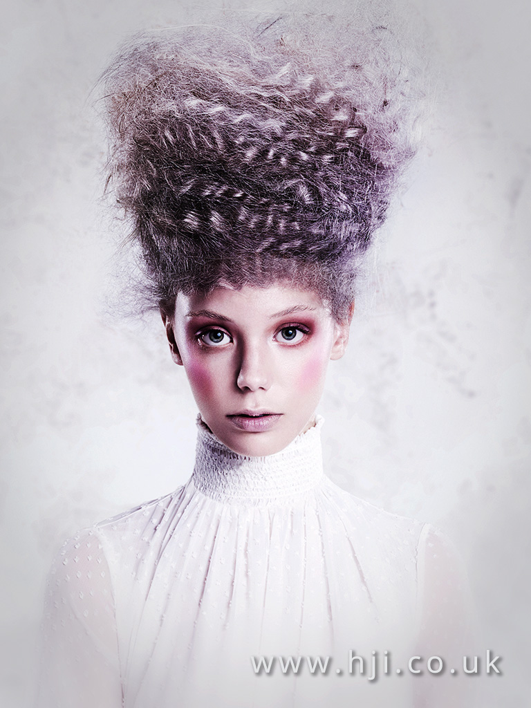 2016 Smokey deep purple avant garde beehive up do with curly and crimped texture