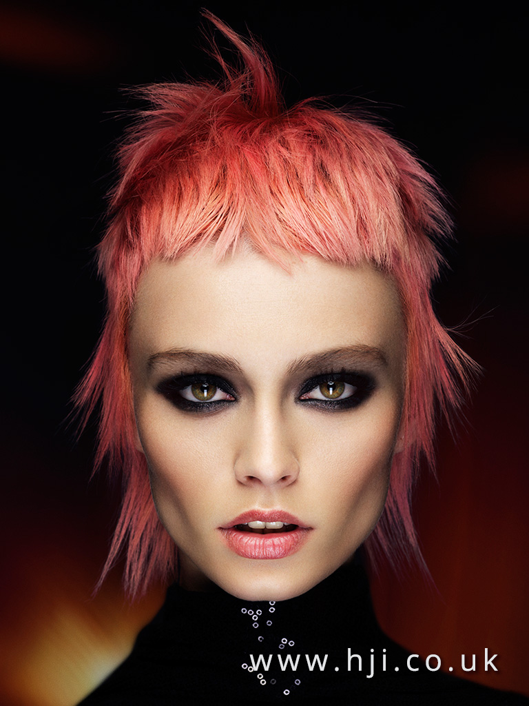 2016 Textured pastel pink mullet with choppy fringe