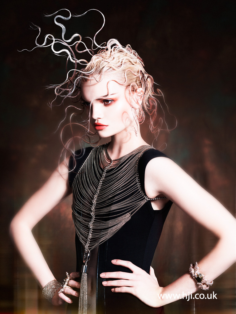 2016 blonde avant garde hairstyle with pink tentacle hairpieces