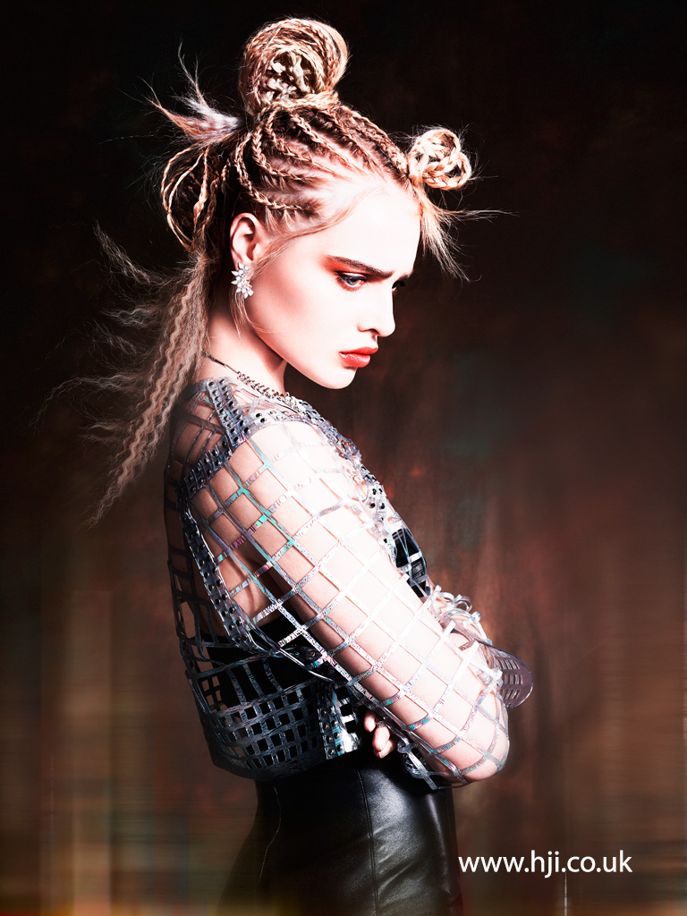 2016 blonde cornrow hairstyle with crimping