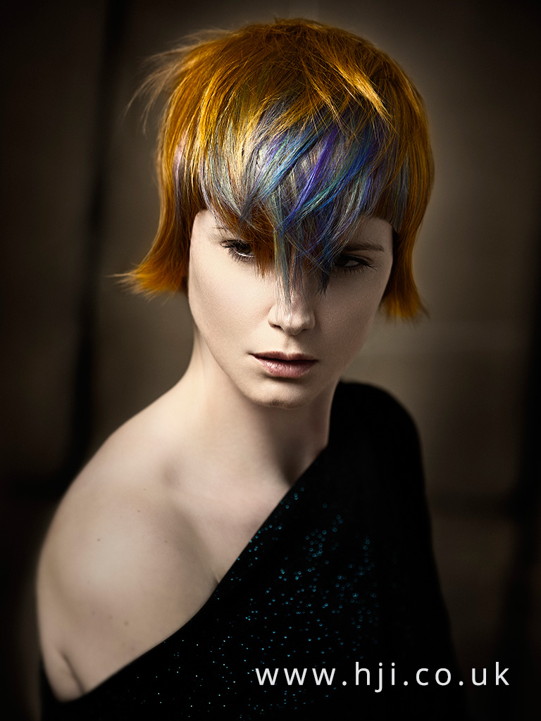 2016 short vibrant redhead bob with multicoloured fringe