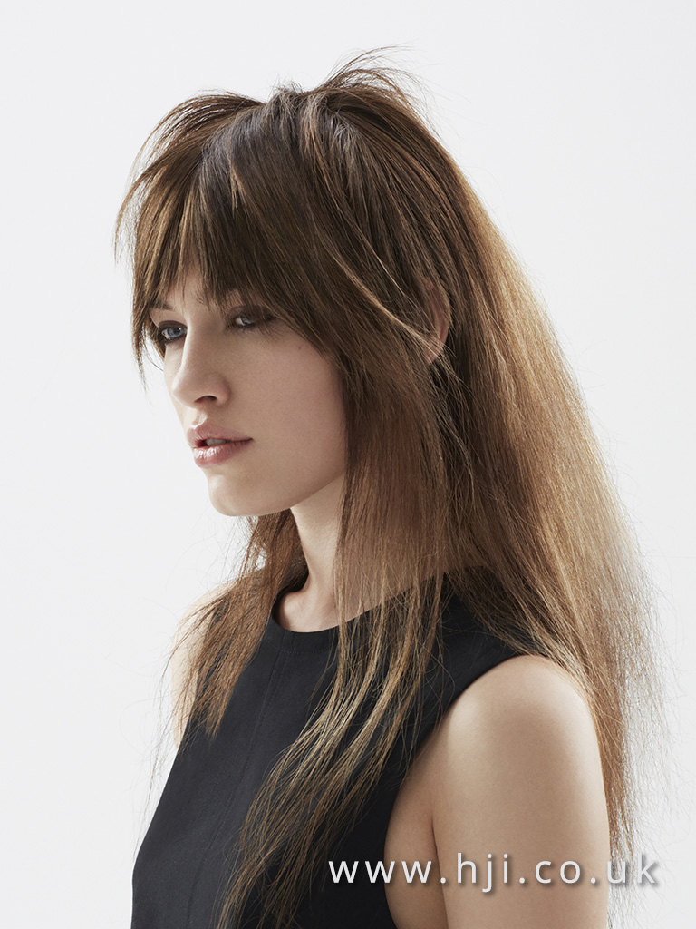 2016 Deep brown root with lighter ends airy texture and choppy fringe