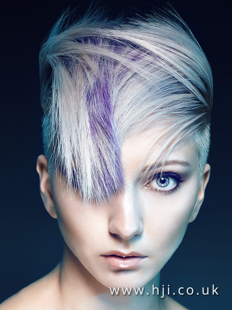 2016 Disconnected crop cool platinum blonde with purple slices