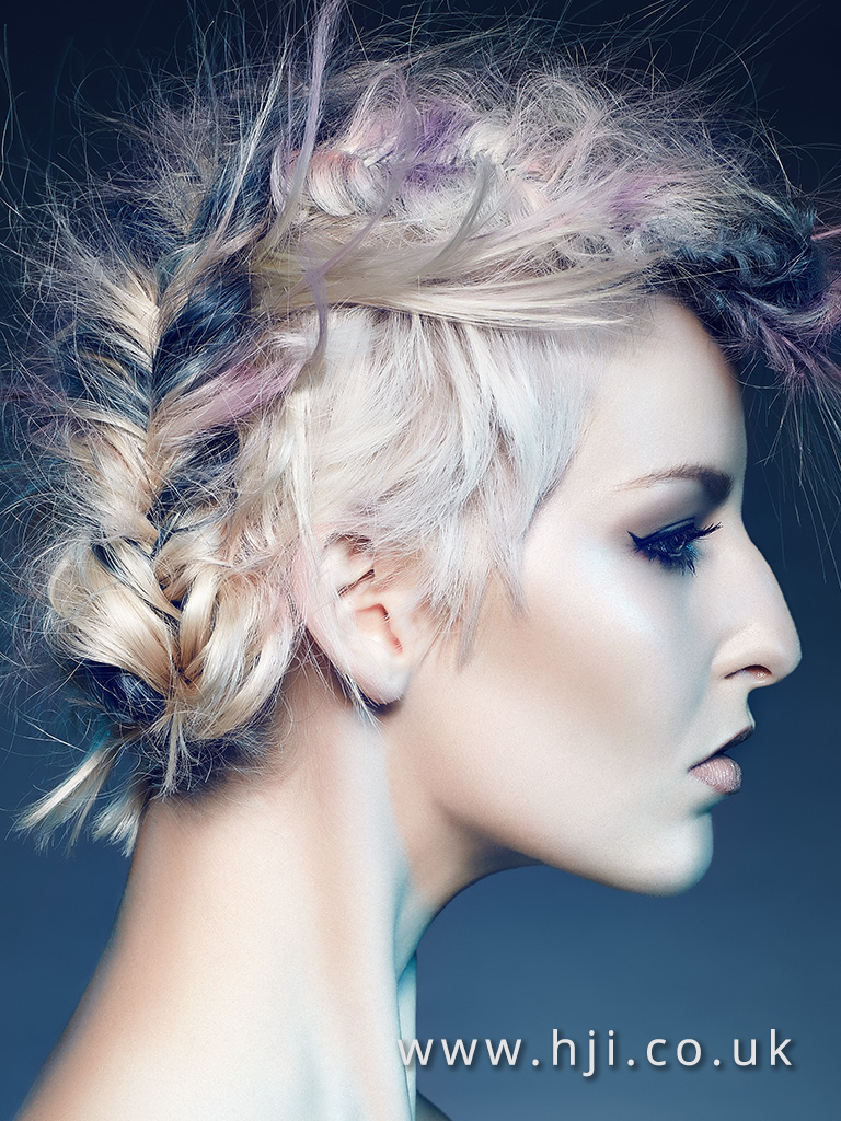 2016 Disconnected cut with fishtail braid cnetre up do platinum blonde with blue and purple slices airy texture
