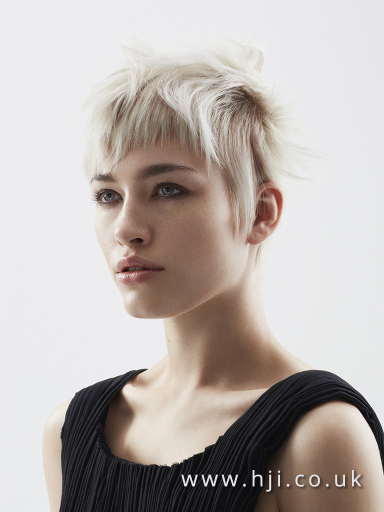 2016 Disconnected pixie crop with choppy fringe and platinum blonde global colour