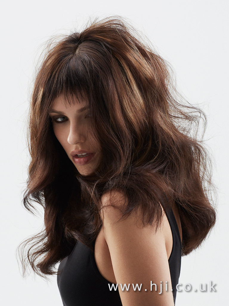 2016 Long voluminous glam waves with micro fringe and bold sliced colour deep rich brown with darker root