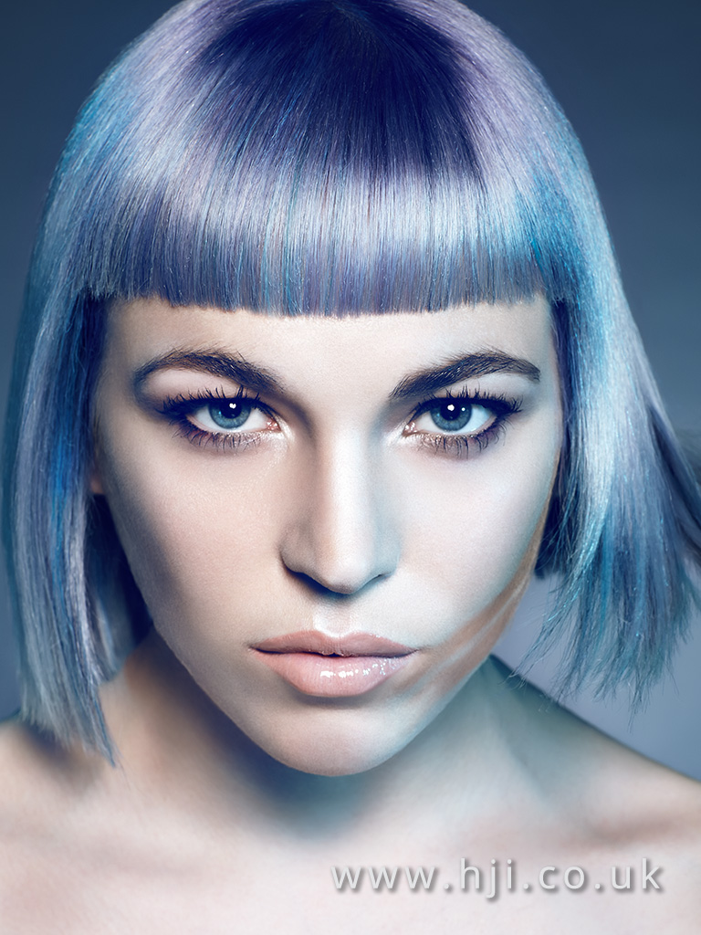 2016 Metallic blond with silver tone and lilac slices box bob with blunt fringe