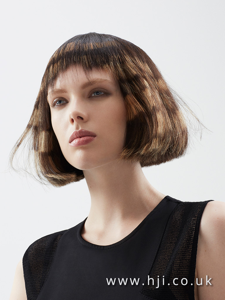 2016 Soft bob with choppy miro fringe rich global brown with block blonde colour