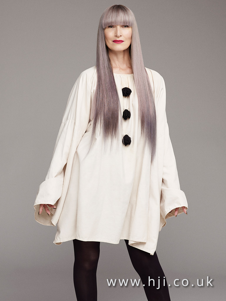 2016 Straight sleek very long with blunt fringe lilac toning with deeper ends