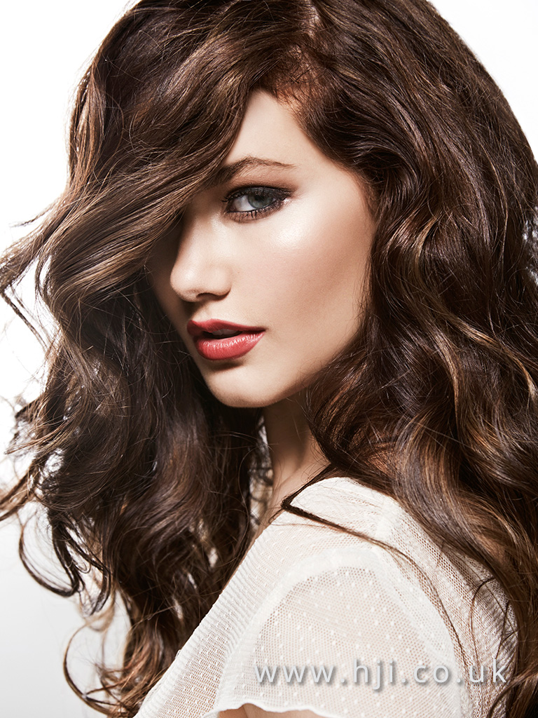 2016 Voluminous long glam waves with side parting deep brown with warm highlights