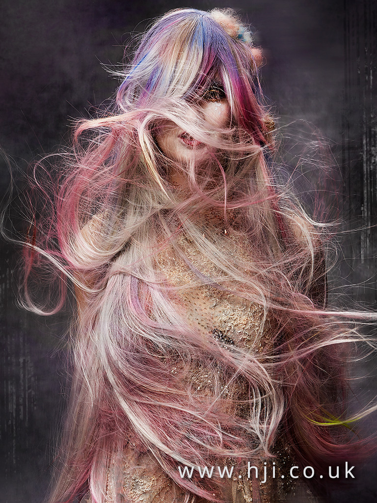 2016 long blue pink and purple avant garde hairstyle 1