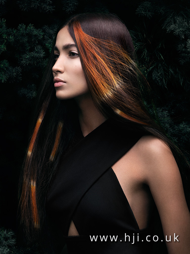 2016 long brunette centre parting hairstyle with tribal colour sections