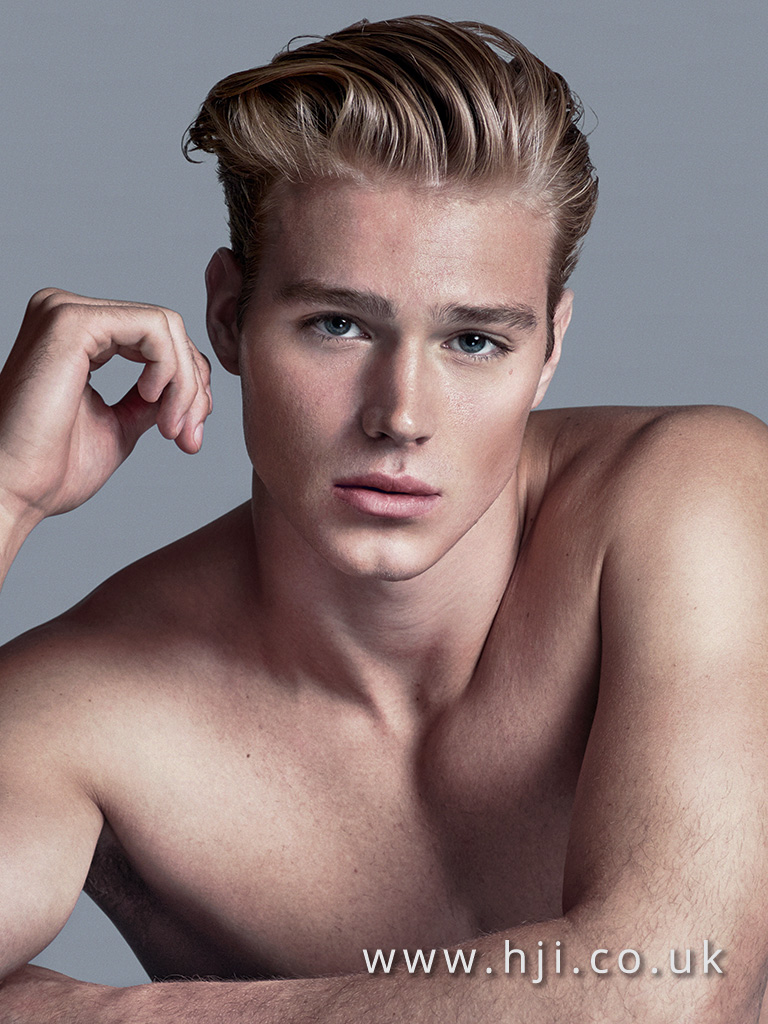 2016 slicked back blonde mens hairstyle