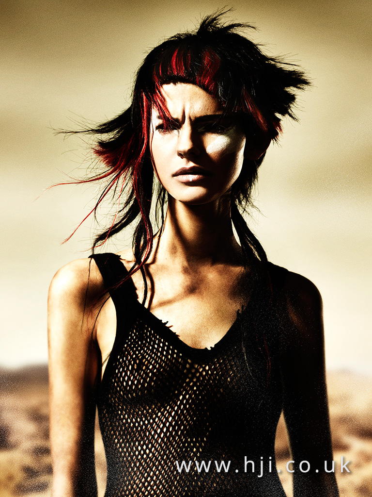 2016 Black asymmetric choppy style with vivid red slices and blunt fringe