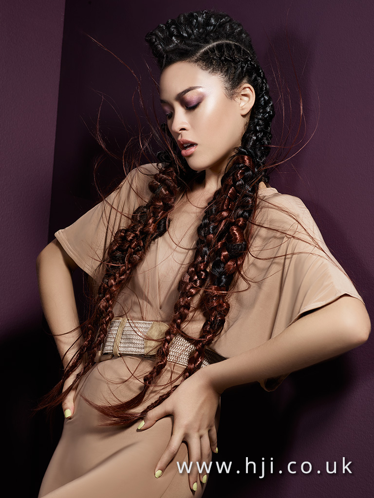 2016 Braided editorial very long style with interwoven copper extensions