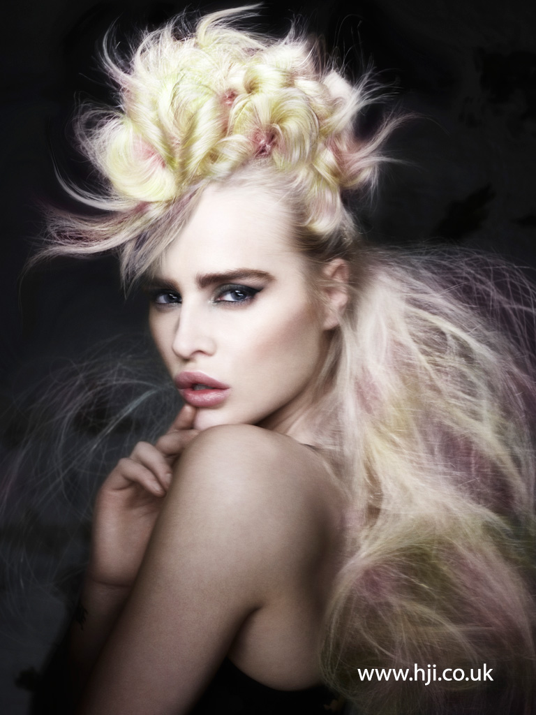 2016 Canary yellow and pastel pink airy textured updo with curled centre panel and voluminous textured length