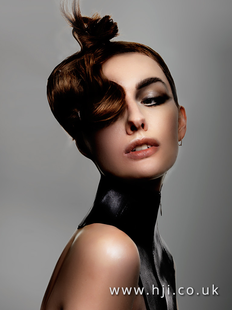 2016 Deep copper brown avant garde top knot updo with frint section finger waves