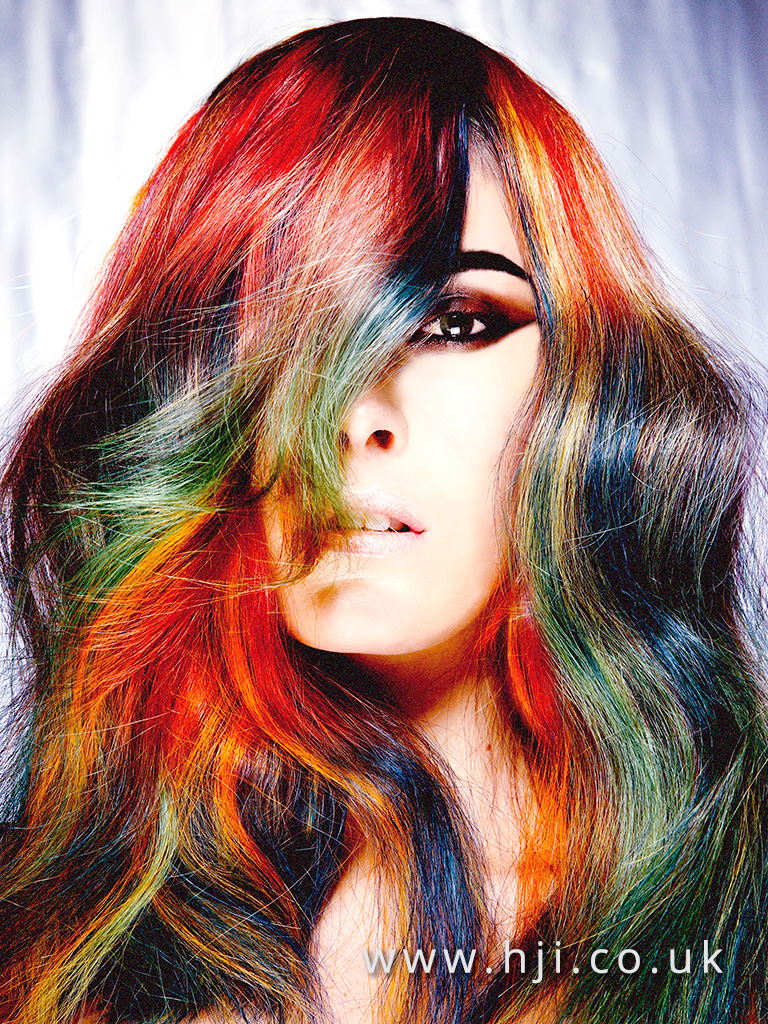 2016 Long rainbow style with vivid sliced multi colour with soft waves and high shine finish