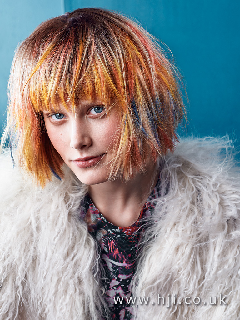 2016 Multi coloured blunt choppy bob with blunt fringe and chalk colour panelling
