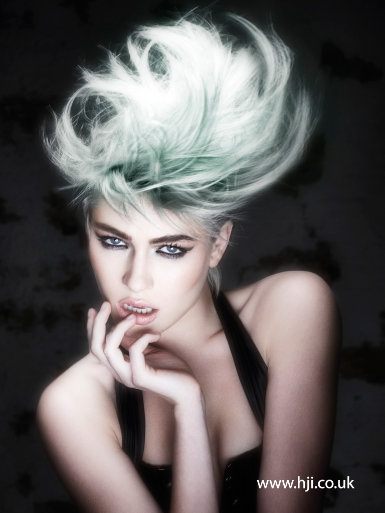 2016 Platinum ash blonde voluminous updo with mint green wash and airy texture