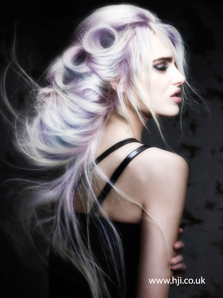 2016 Platinum blonde long braided style with lilac wash and piecy fringe