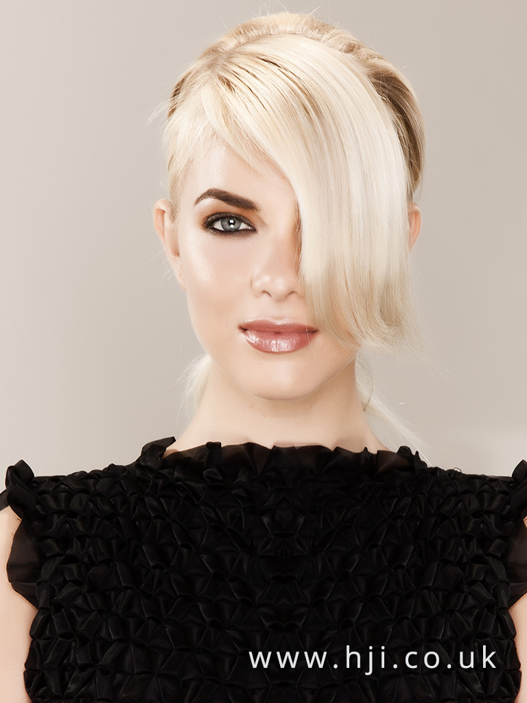 2016 Platinum blonde ponytail with heavy side swept fringe