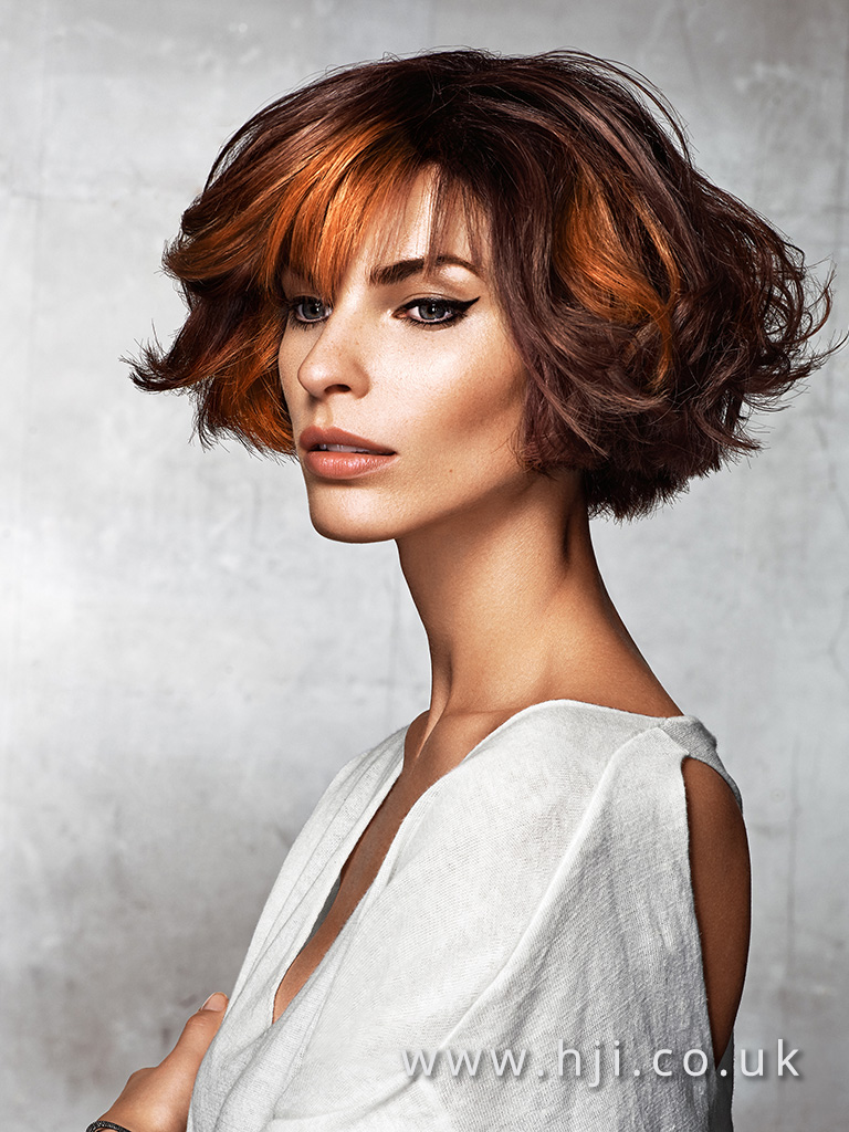 2016 Rich copper mahigany bob with whispy fringe and voluminous waves