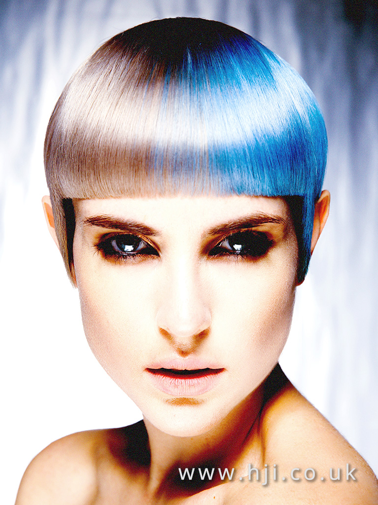 2016 Short blunt crop with dual silver and metallic blue colour and blunt fringe