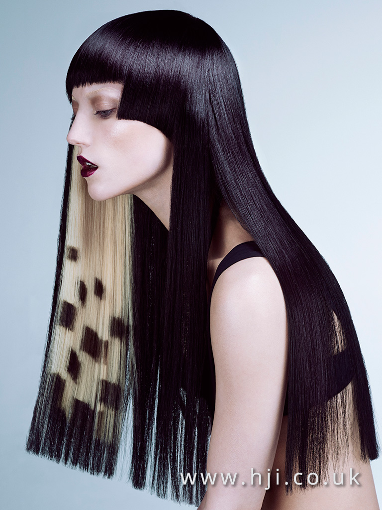 2016 Very long black style with concealed blonde under colour and asymmetric blunt fringe