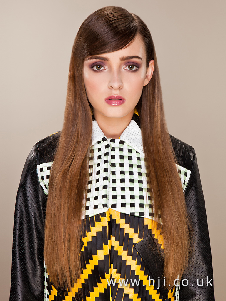 2016 Very long warm brown style with sleek straight finish and deep side parting