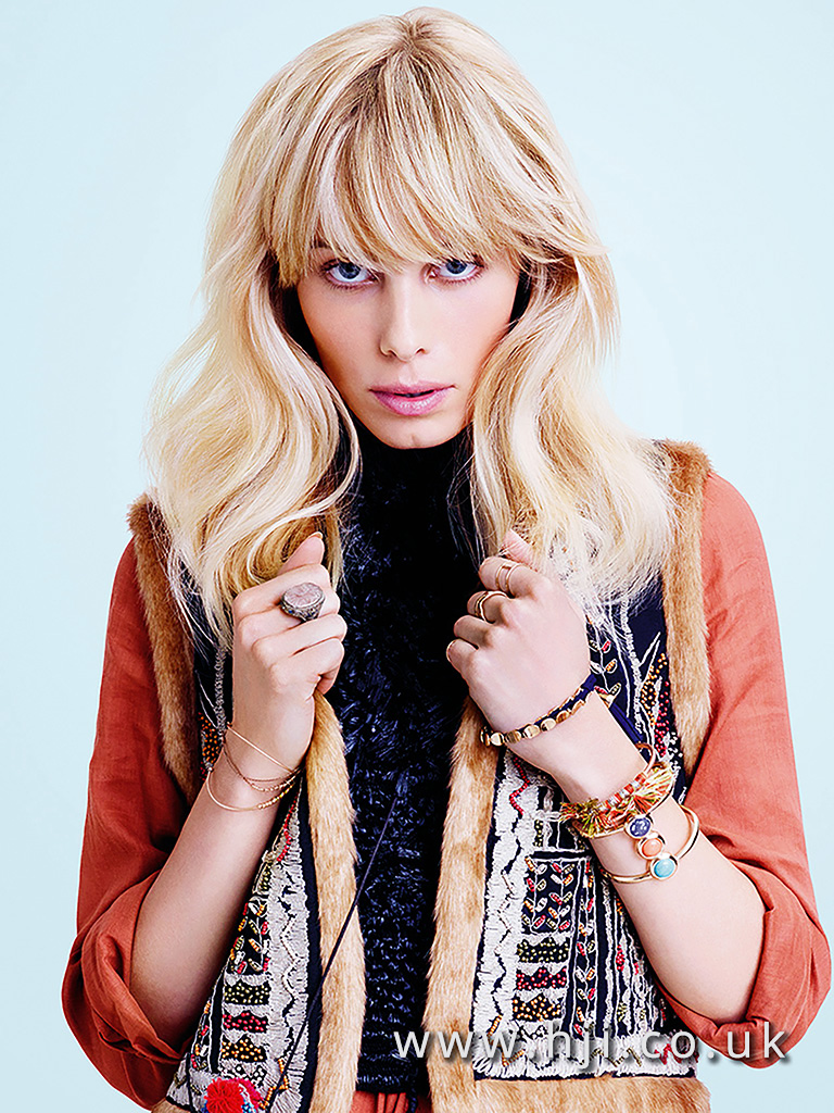 2016 Warm blonde boho style with full fringe and soft waves