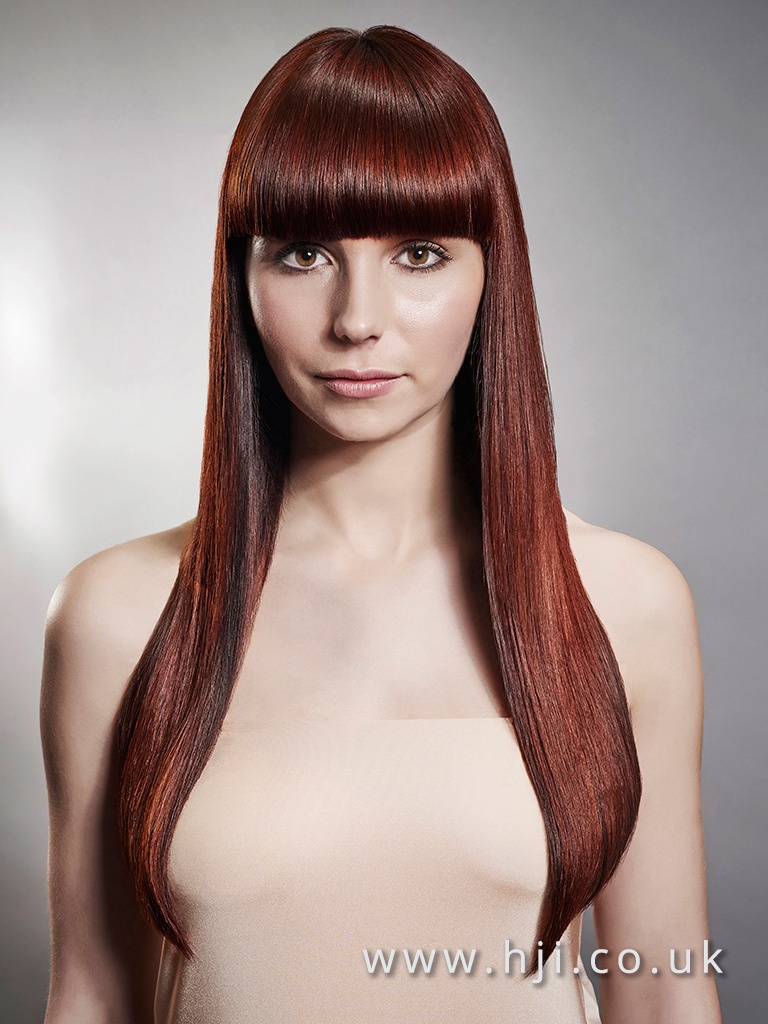 2016 Warm red brown very long sleek straight style with blunt full fringe and high shine finish