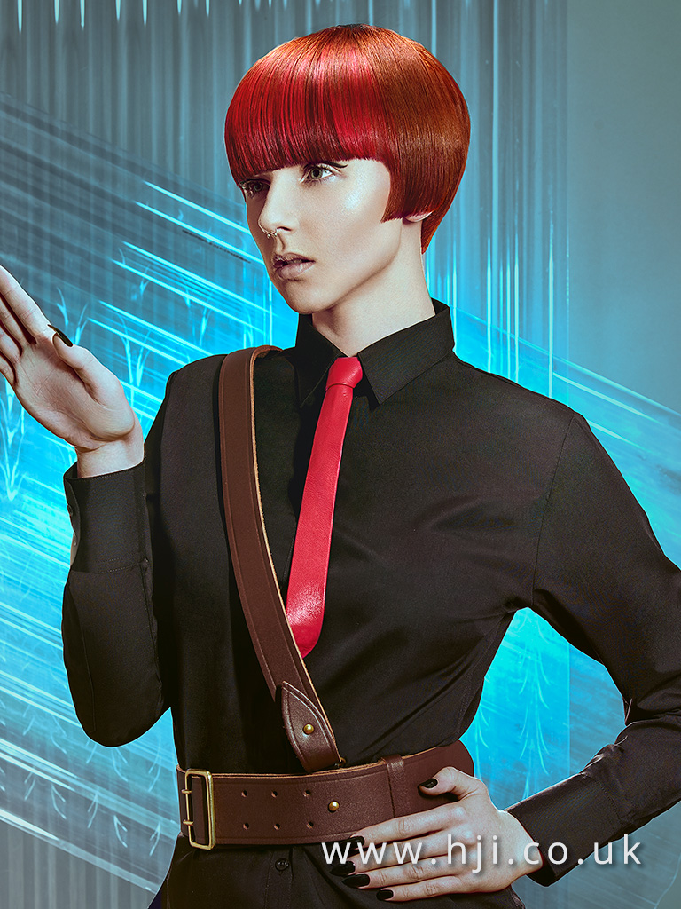2016 Copper box bob with bold red slices and very blunt fringe