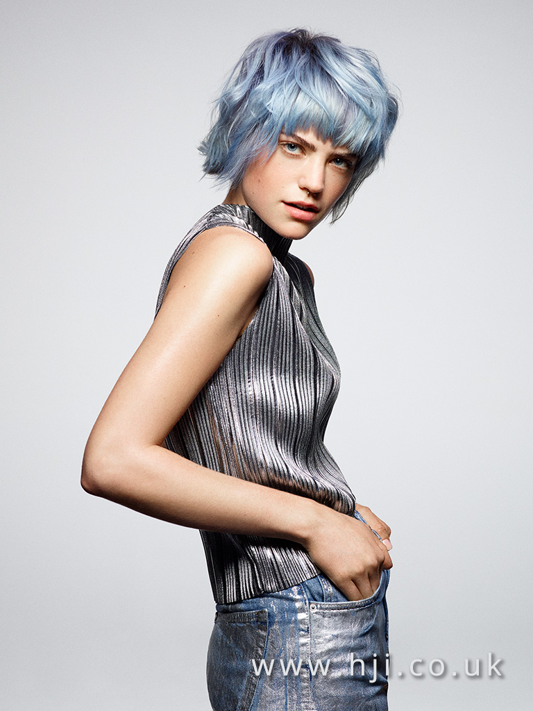 2016 Pale blue pastel and lilac box bob with choppy fringe and layers with messy texture