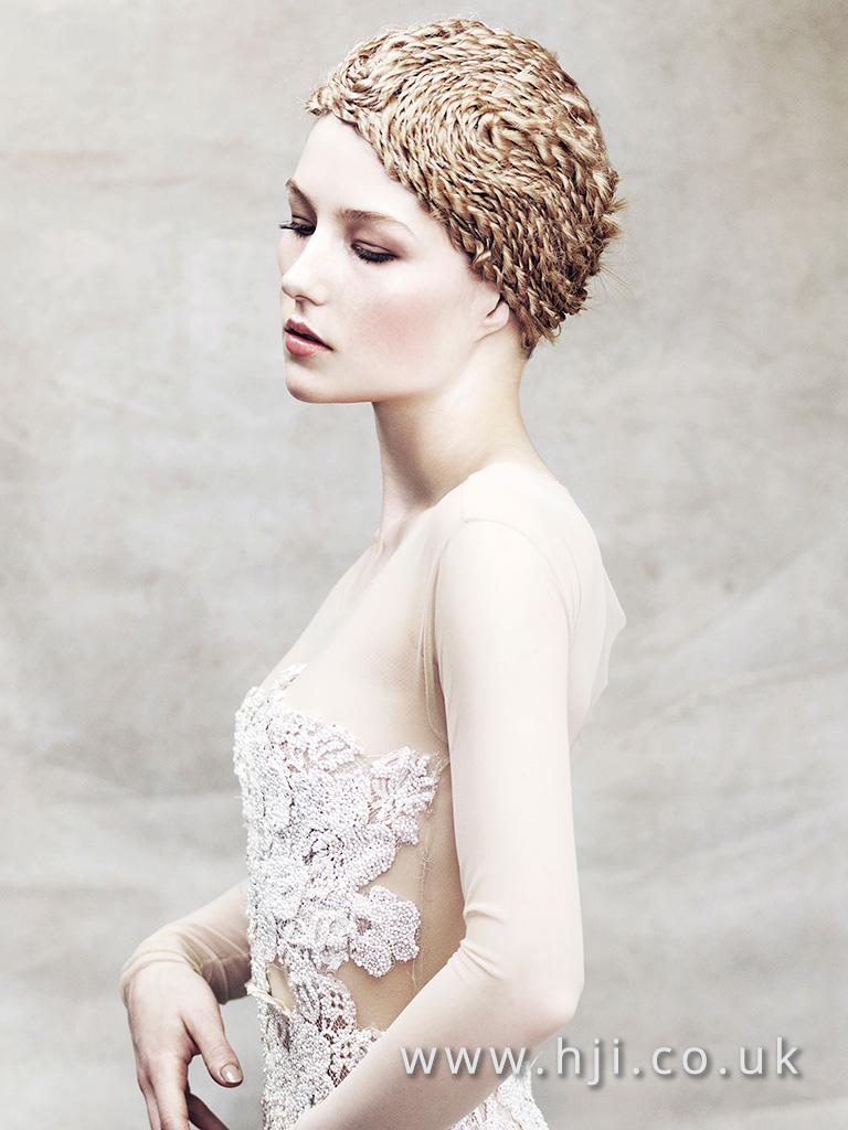 2016 avant garde blonde tight plait hairstyle