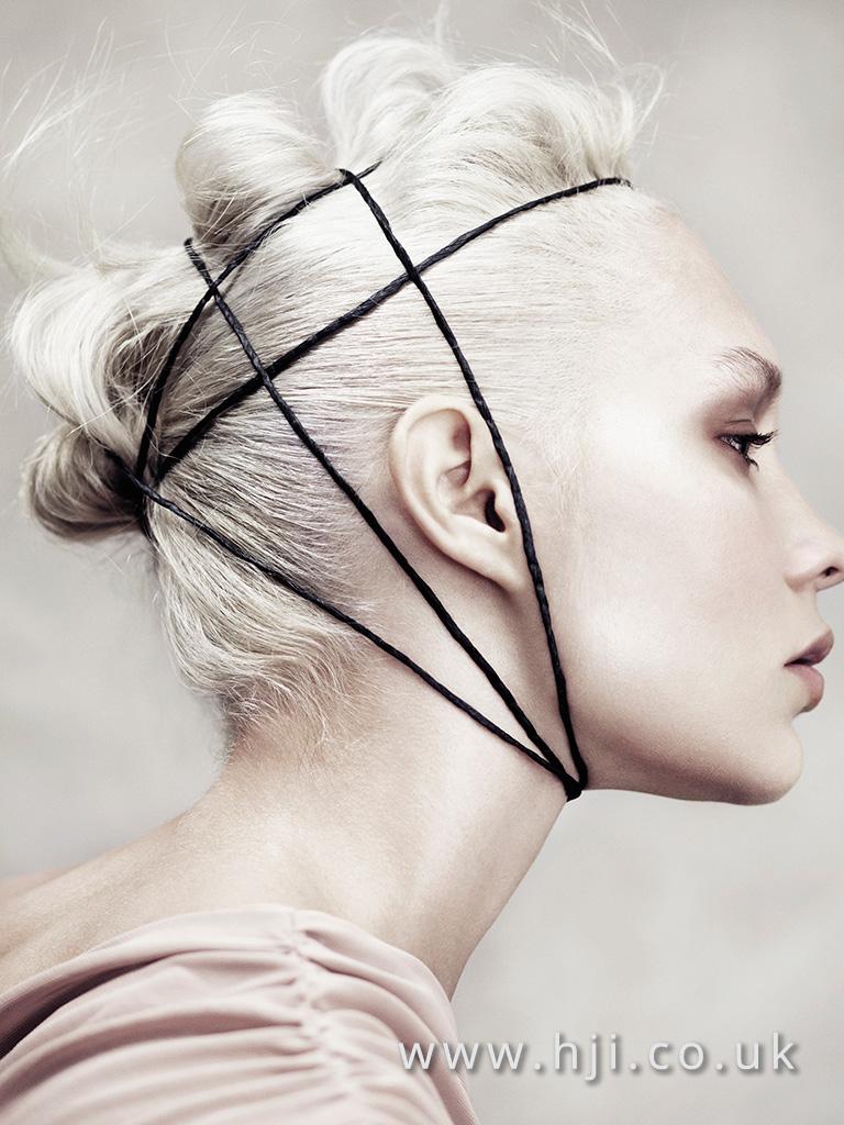2016 avant garde platinum blonde updo with top waves