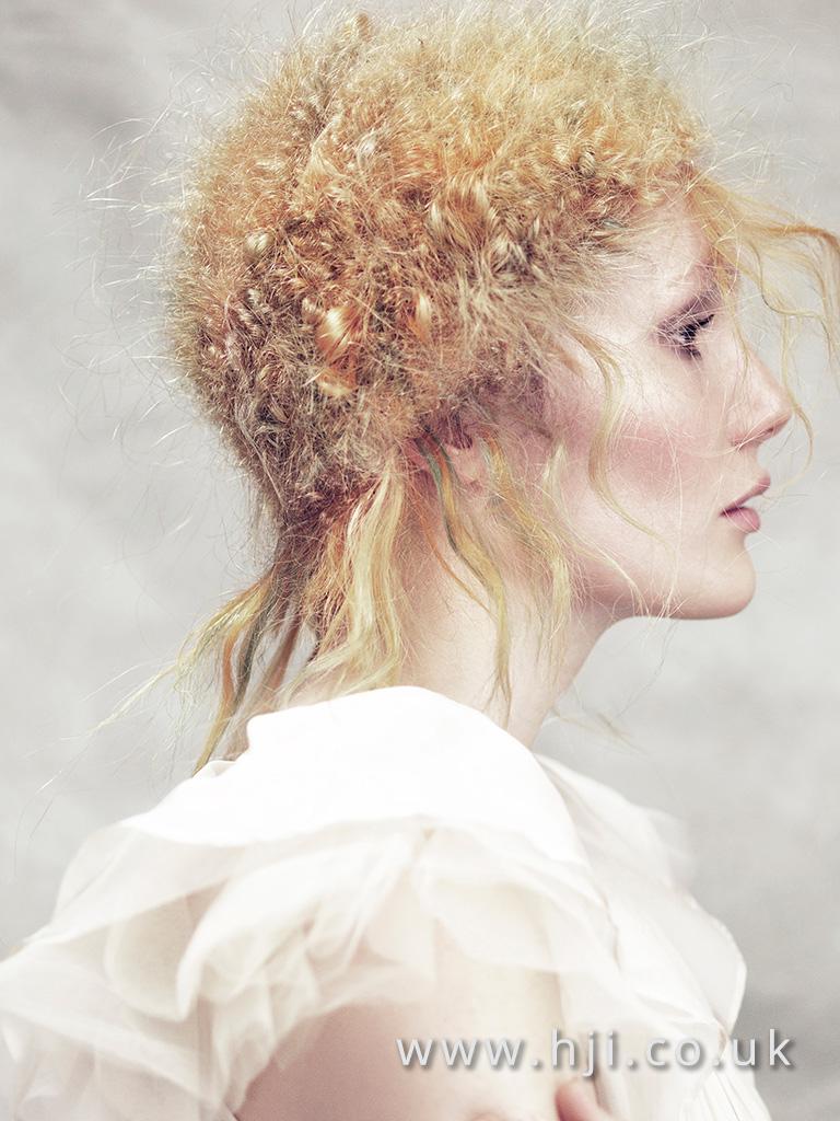 2016 blonde avant garde pincurl hairstyle with green streaks