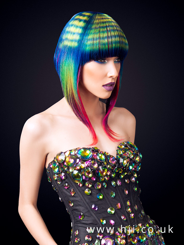 2016 bob hairstyle with vibrant peacock colours