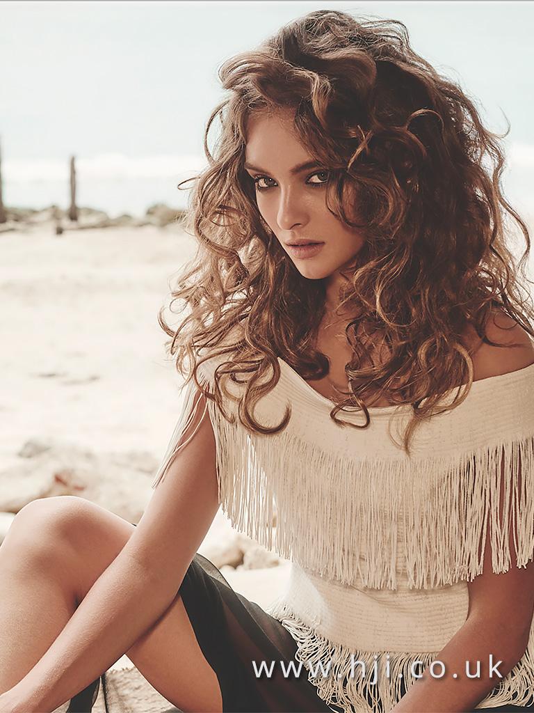 2016 brunette messy beach curls hairstyle