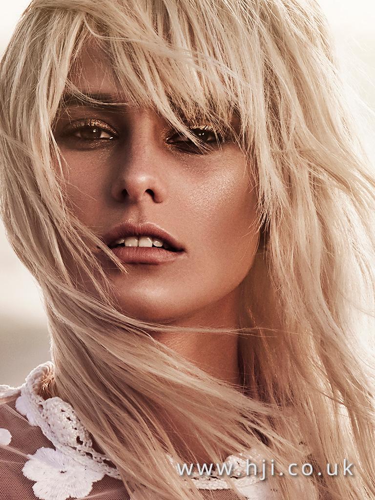 2016 layered beachy blonde hairstyle with choppy fringe