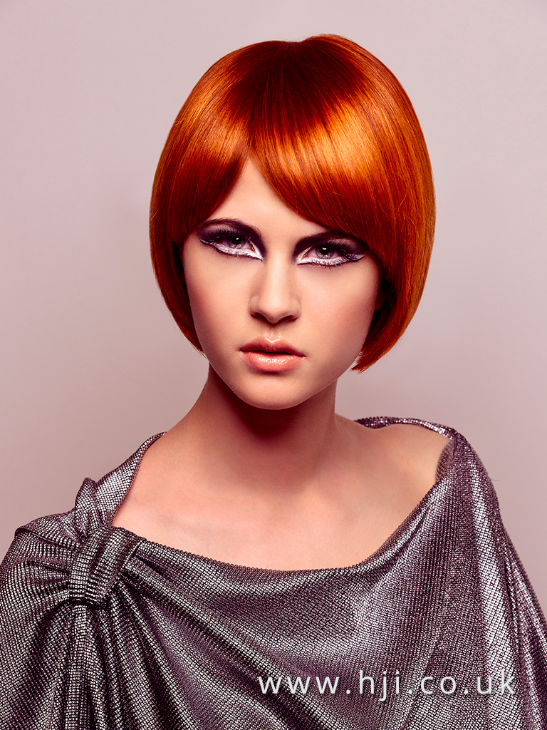 2016 silky cropped vibrant redhead bob with slight side parting