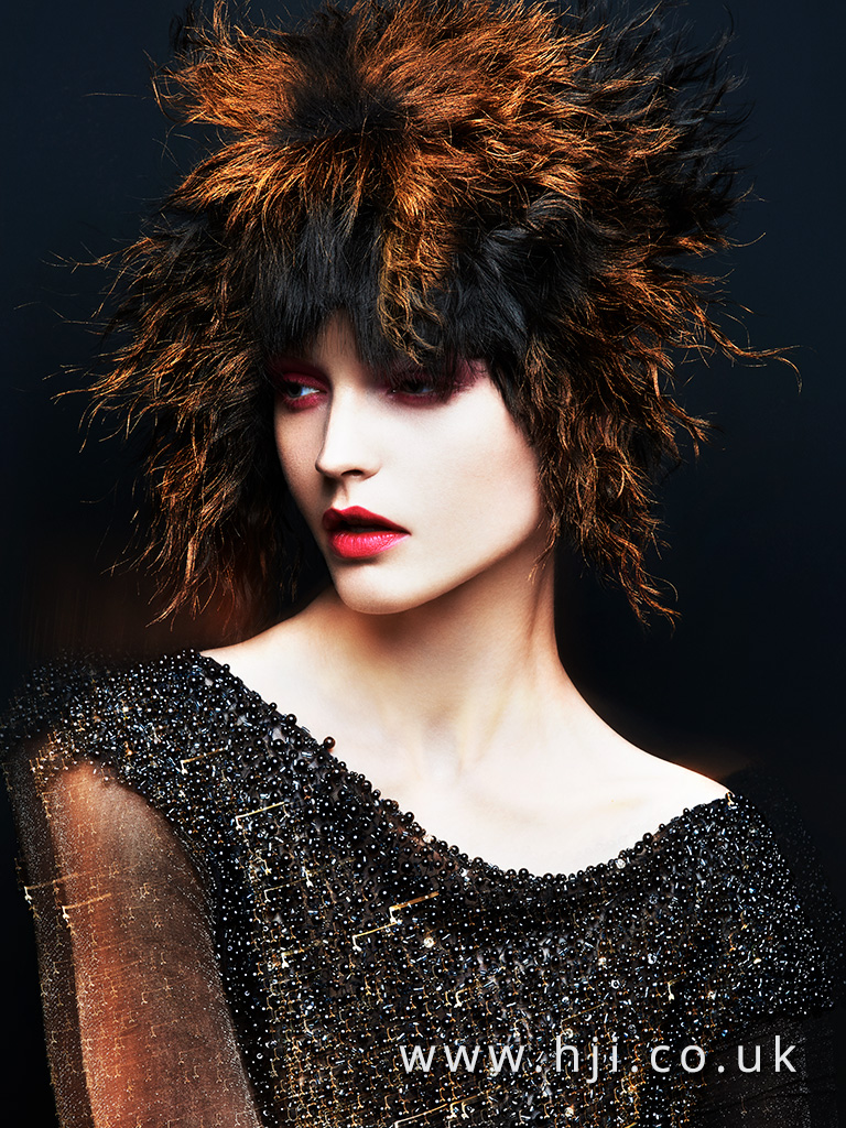 2016 crimped avant garde hair style with copper sections