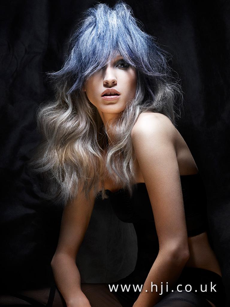 2016 long ash wabes hairstyle with blue backcombed fringe