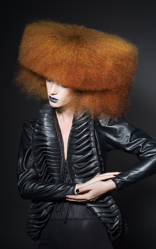 Futuristic Crimped Avant Garde Hairdstyle