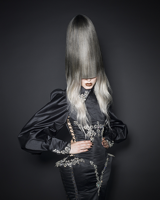 Tall Avant Garde Silver Hairstyle
