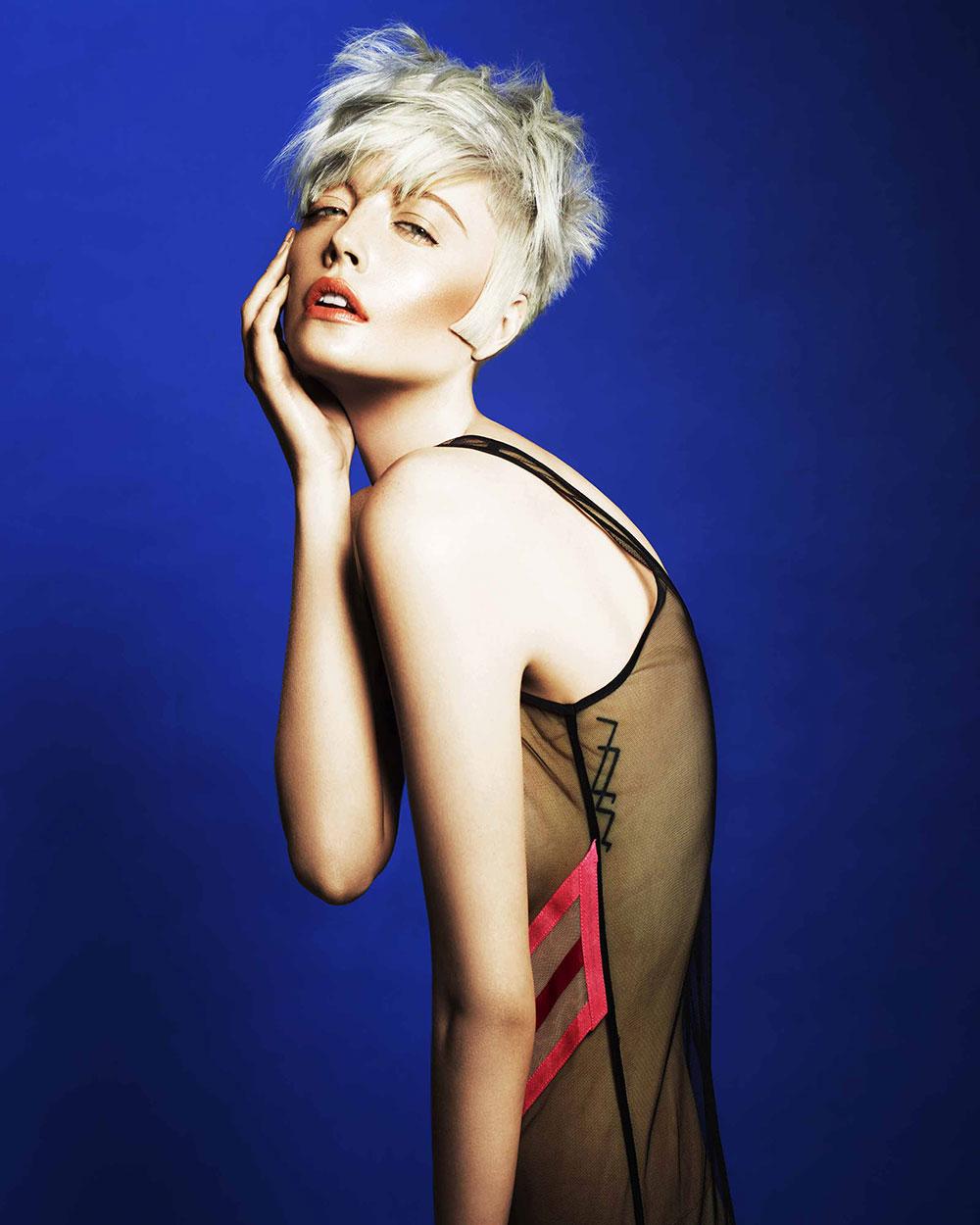 Platinum blonde crop with soft feminine styling