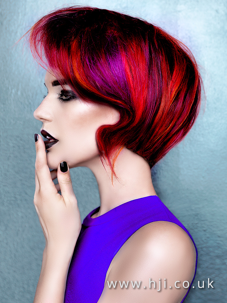 Desmond Murray Blunt Bob with Vivid red and Magenta slices side swept detail