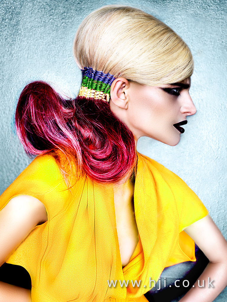 Desmond Murray editorial sleek updo with platinum blonde and vivid pink ombre