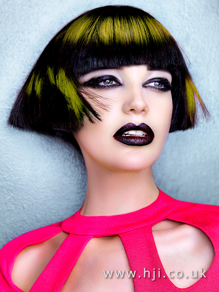 Desmond Murray very blunt black box bob with vivid yellow slices and sleek texture